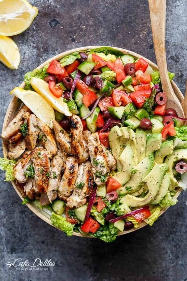 Grilled Lemon Herb Mediterranean Chicken Salad #healthy #mexican #recipe #food #dinner