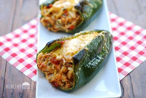 Stuffed Poblano Peppers: Chicken Stuffed, Oven Baked #healthy #mexican #recipe #food #dinner