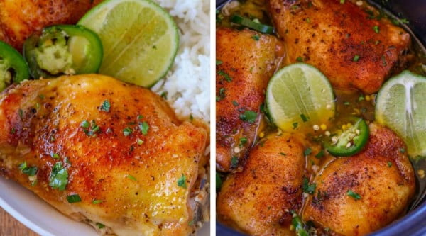 Slow Cooker Spicy Honey Lime Chicken #healthy #mexican #recipe #food #dinner