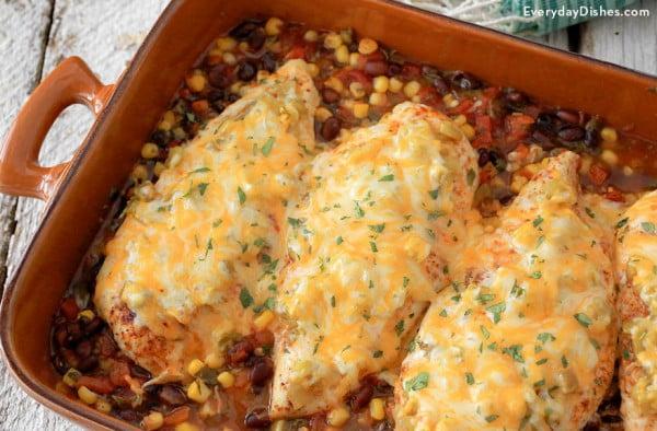 Santa Fe Baked Chicken Recipe #healthy #mexican #recipe #food #dinner