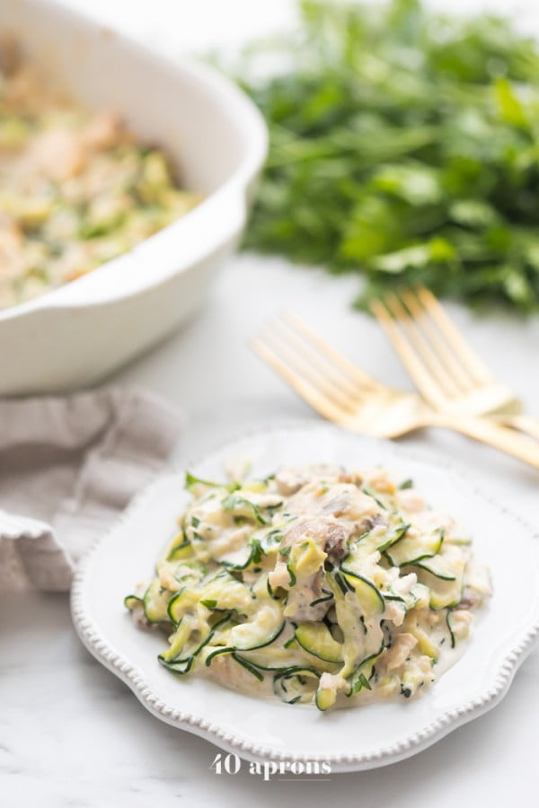 Whole30 Tuna Zoodle Casserole (Paleo, Dairy Free) #recipe #food #spring #dinner #healthy