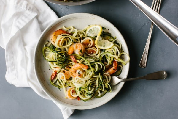 Zucchini Pasta with Lemon Garlic Shrimp #zucchini #healthy #recipe #dinner