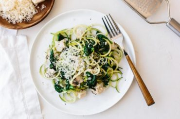 Zucchini Noodles with Chicken, Spinach and Parmesan #zucchini #healthy #recipe #dinner
