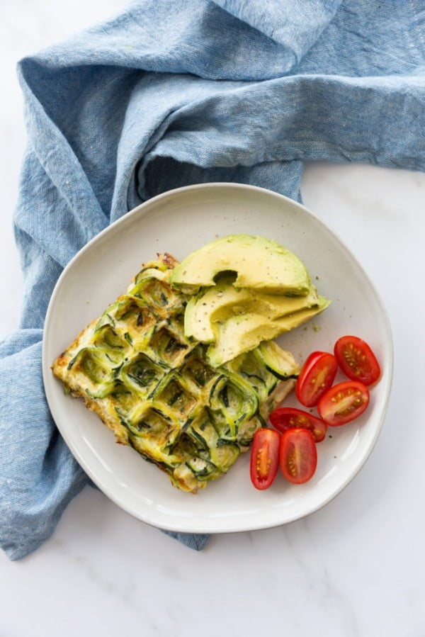 Zucchini Noodle Egg Waffle #zucchini #healthy #recipe #dinner