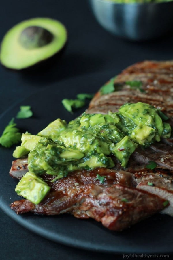 Grilled Flank Steak with Avocado Chimichurri #keto #healthy #dinner #recipe
