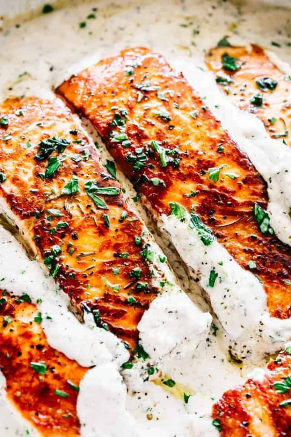 Pan Seared Salmon Recipe With Lemon Garlic Cream Sauce #keto #healthy #dinner #recipe