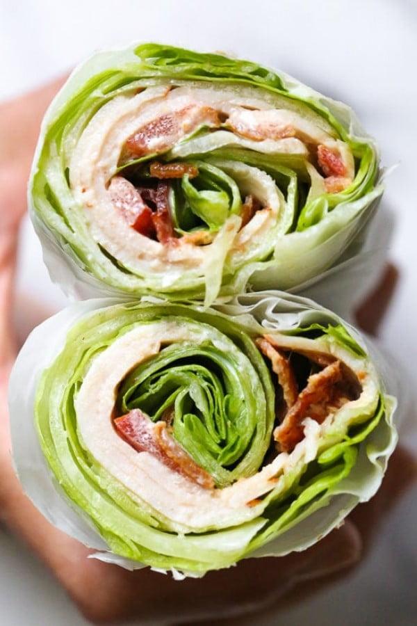 Chicken Club Lettuce Wrap Sandwich #keto #snack #recipe #food