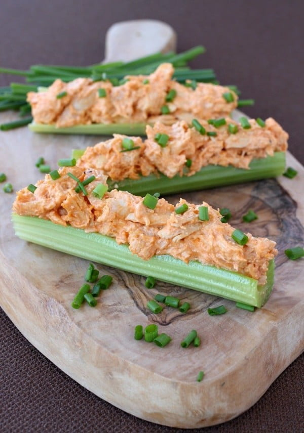 Buffalo Chicken Celery Sticks #keto #snack #recipe #food