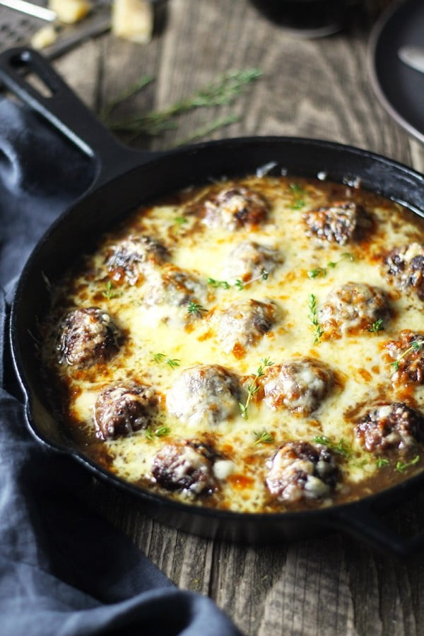 French Onion Cheese Stuffed Meatballs #meatballs #dinner #recipe