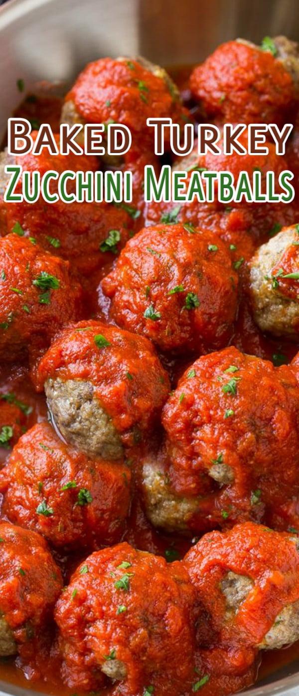 Baked Turkey Zucchini Meatballs #meatballs #dinner #recipe