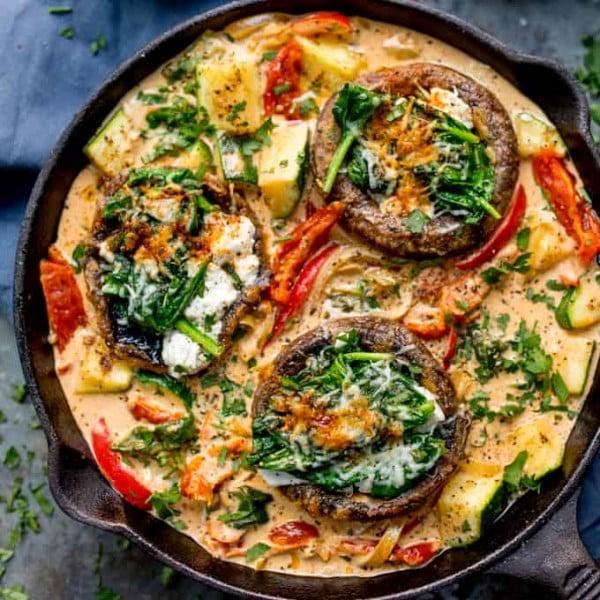 Tuscan Style Stuffed Mushrooms in Creamy Sun Dried Tomato Sauce #mushroom #recipe #dinner #food