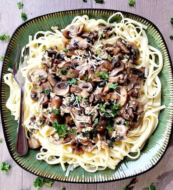 Mushroom Parmesan Fettuccine #mushroom #recipe #dinner #food