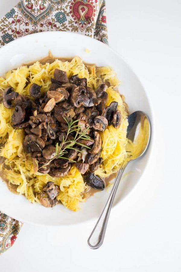 Spaghetti Squash with Roasted Mushroom and Garlic Sauce #mushroom #recipe #dinner #food