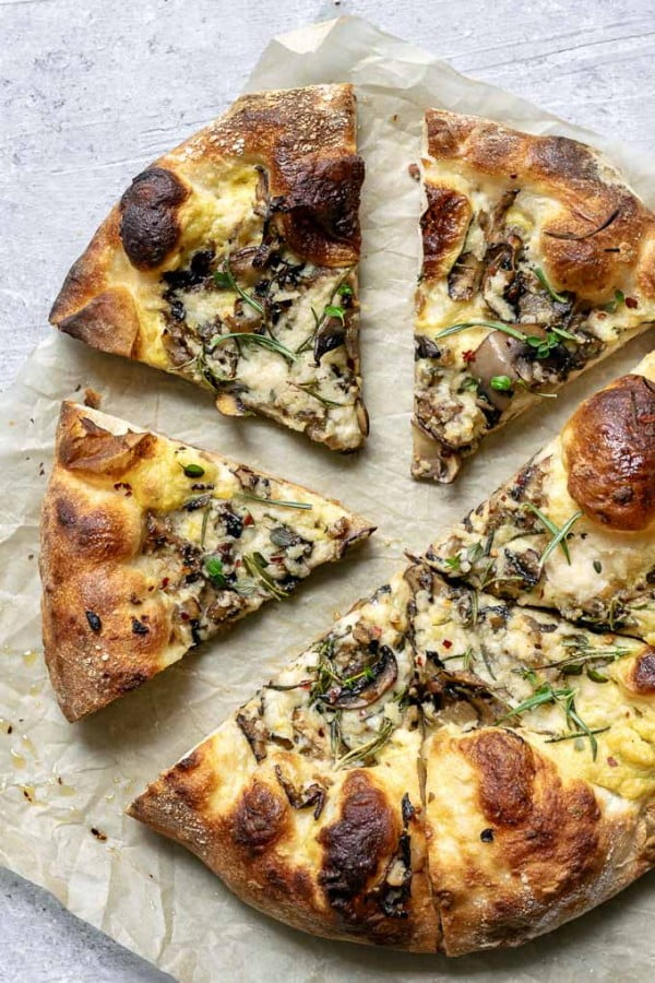 Vegan Caramelized Mushroom Pizza • The Curious Chickpea #mushroom #recipe #dinner #food