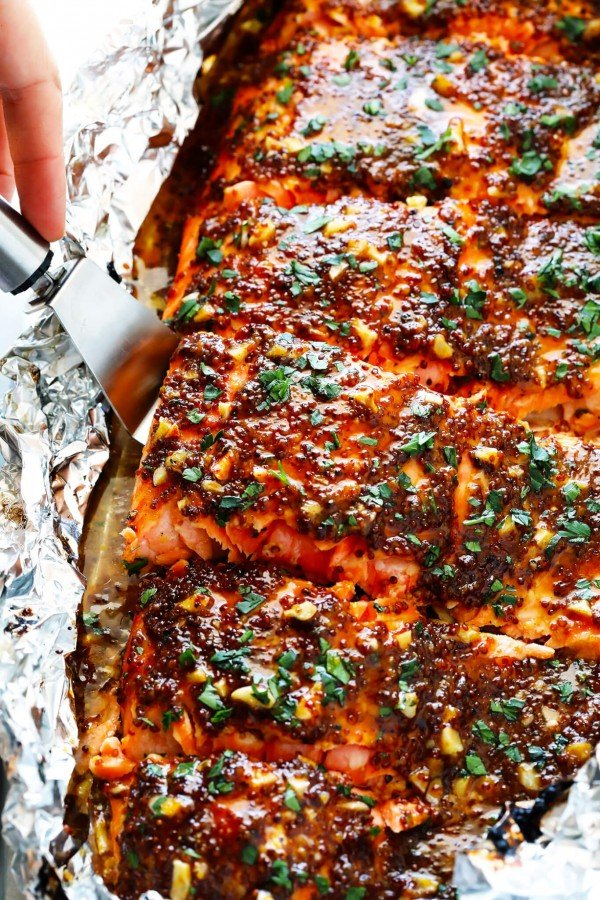 Honey Mustard Salmon In Foil #salmon #fish #food #dinner #recipe
