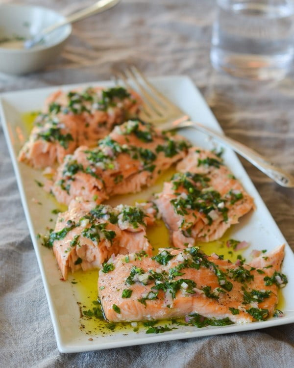 Slow-Roasted Salmon with French Herb Salsa #salmon #fish #food #dinner #recipe
