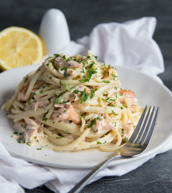 Salmon Pasta in a Creamy Dill Sauce #salmon #fish #food #dinner #recipe