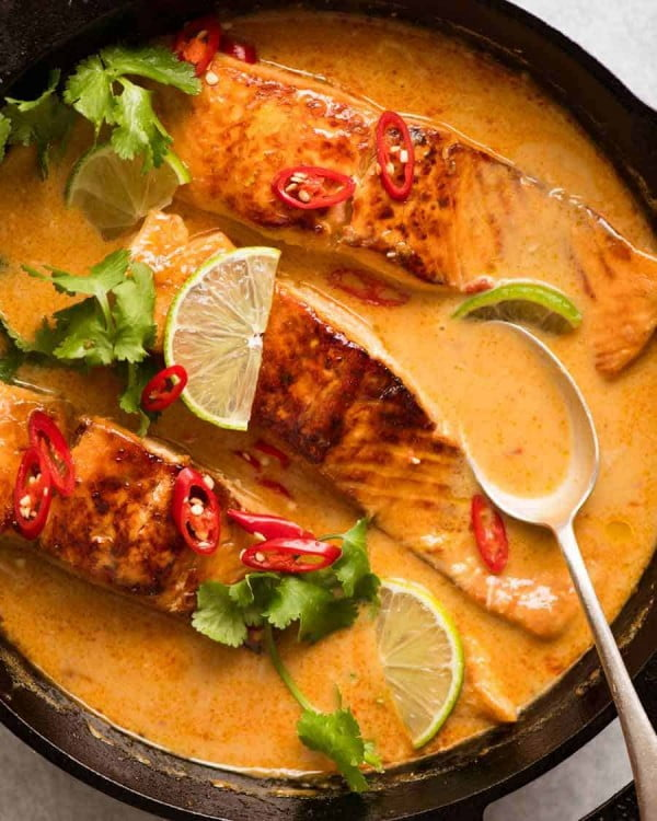 Poached Salmon in Coconut Lime Sauce #salmon #fish #food #dinner #recipe