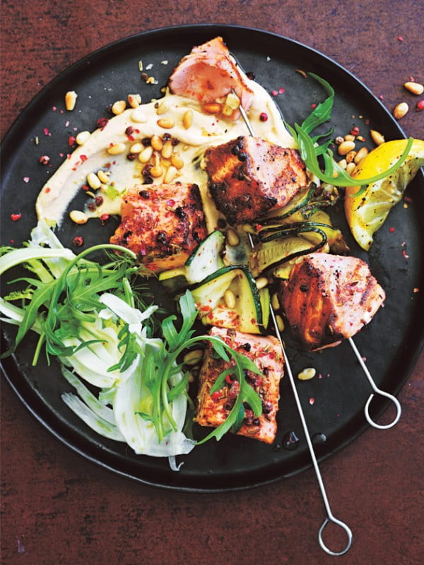 Fennel And Pink Peppercorn Salmon With Rocket And Fennel Salad #salmon #fish #food #dinner #recipe