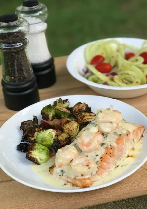 Baked Salmon With Lemon Parmesan Shrimp #salmon #fish #food #dinner #recipe