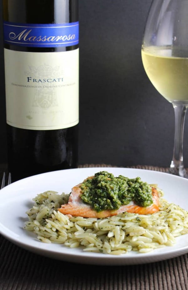 Orzo, Salmon and Pesto with a Frascati #salmon #fish #food #dinner #recipe