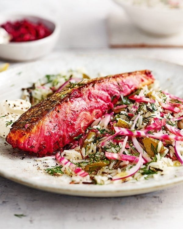 Beetroot-marinated salmon with dill pickled rice salad #salmon #fish #food #dinner #recipe