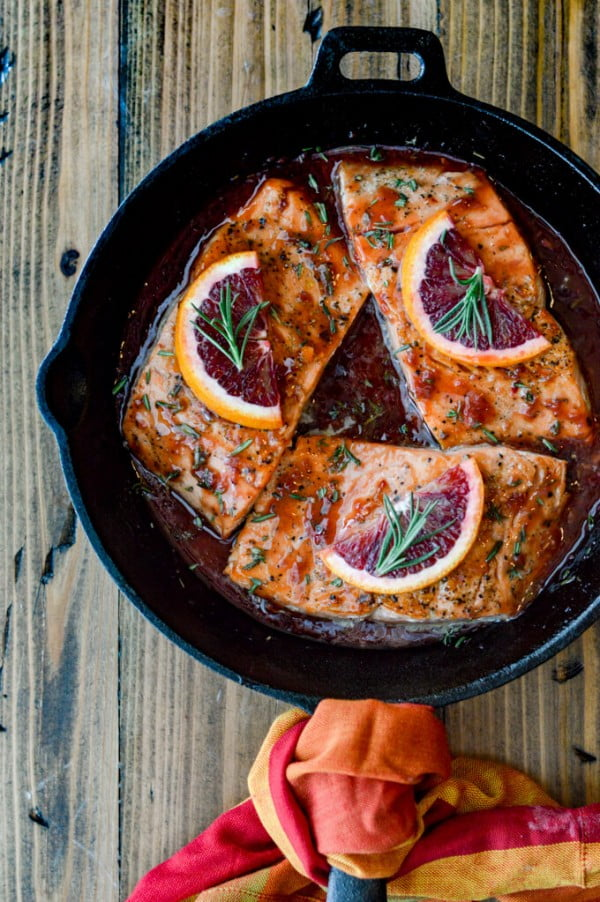 Pan Seared Salmon in a Blood Orange Sauce #salmon #fish #food #dinner #recipe