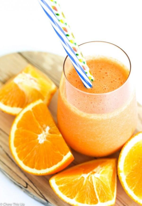 Tropical Vanilla Orange Carrot Smoothie (Dairy-Free) #smoothie #recipe #food #drink