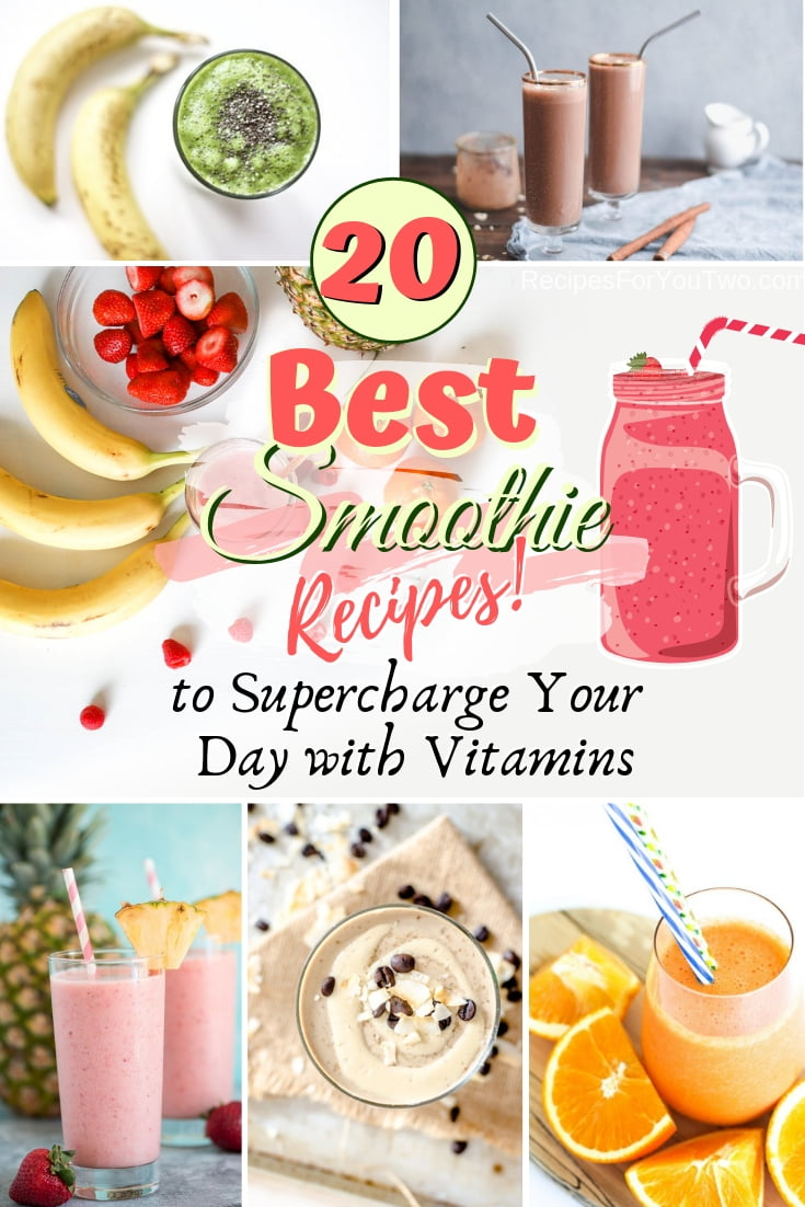 Supercharge your day with fruit and vitamins with these delicious smoothie recipes. Great list! #smoothie #recipe #drink #food