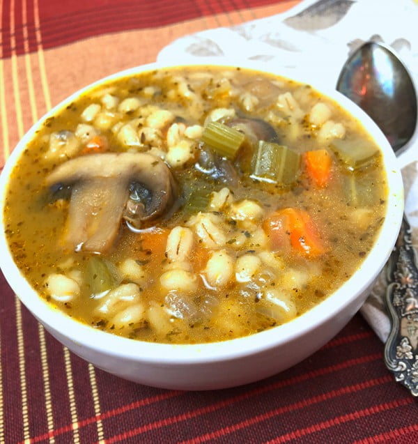 Instant Pot Mushroom Barley Soup #soup #dinner #recipe