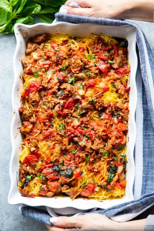 Creamy Sausage Tomato Basil Spaghetti Squash {Paleo, Whole30, Keto} #spaghetti #dinner #recipe #squash