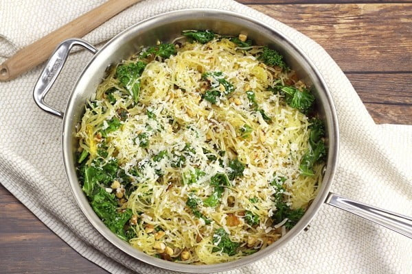 Spaghetti Squash with Kale and Walnuts #spaghetti #dinner #recipe #squash