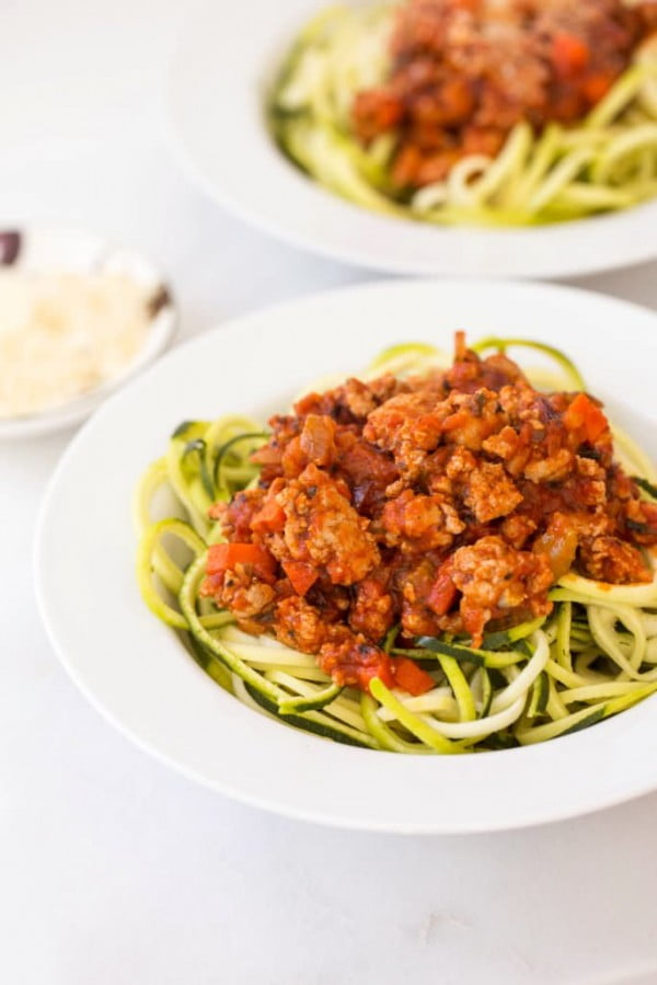 Turkey Bolognese with Zucchini Noodles #turkey #dinner #recipe #food