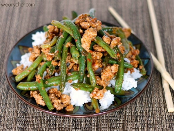 Favorite Chinese Green Beans with Ground Turkey #turkey #dinner #recipe #food
