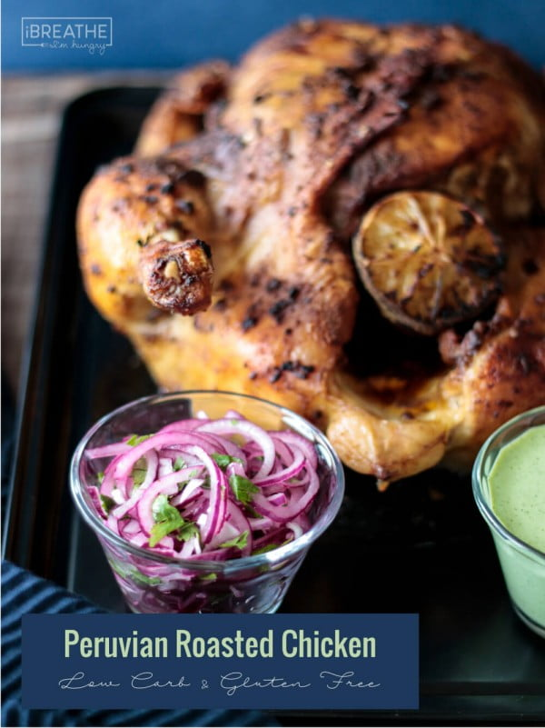 Peruvian Roasted Chicken & Green Sauce #recipe #chicken #roast #dinner