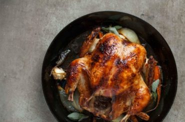 Whole roasted chicken with black chai glaze #recipe #chicken #roast #dinner