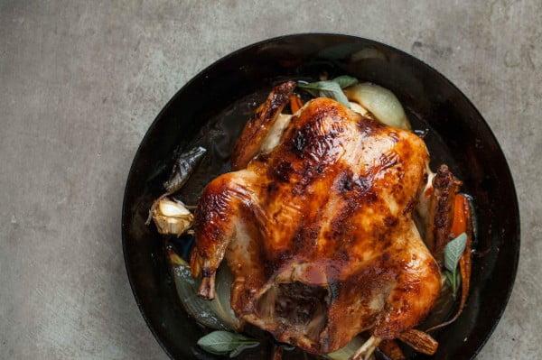 Whole roasted chicken with black chai glaze #recipe #chicken #roast #dinner