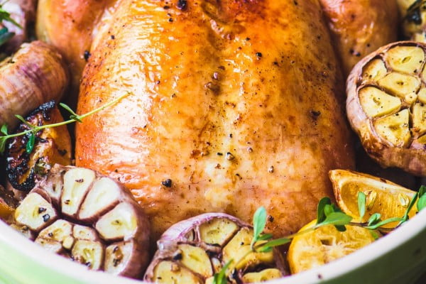 Roast Chicken with Purple Garlic #recipe #chicken #roast #dinner