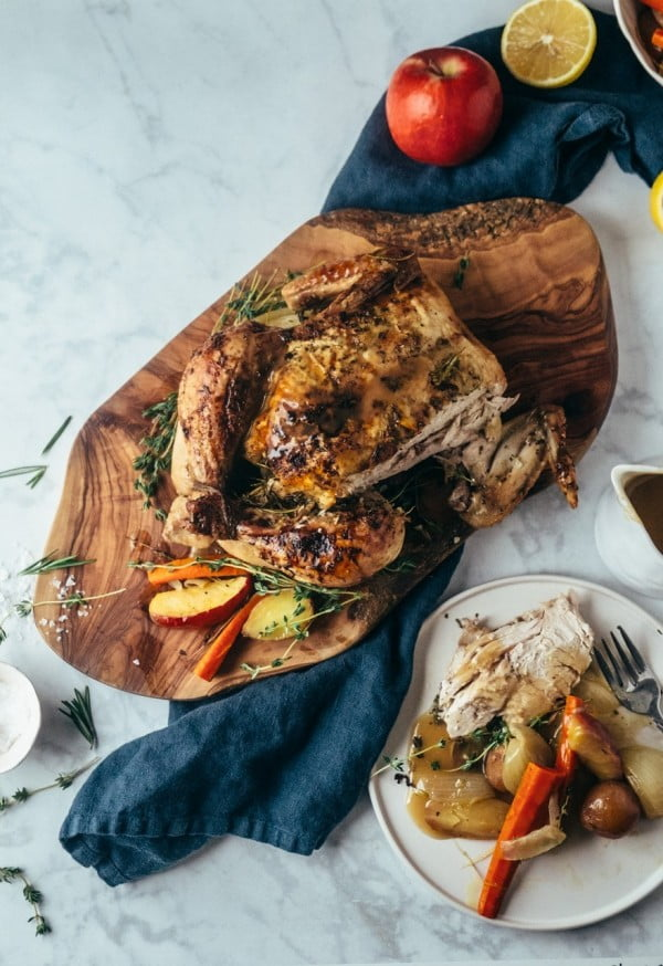 Roast Chicken with Apple Cider (paleo, whole30) #recipe #chicken #roast #dinner