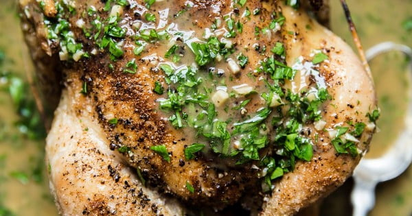 Perfect Roast Chicken with Lemon Herb Pan Sauce #recipe #chicken #roast #dinner