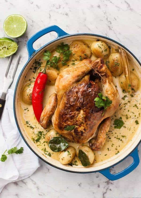 Pot Roasted Coconut Chicken #recipe #chicken #roast #dinner