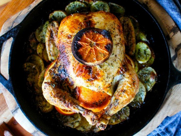 Orange Herb Roasted Chicken with Potatoes #recipe #chicken #roast #dinner
