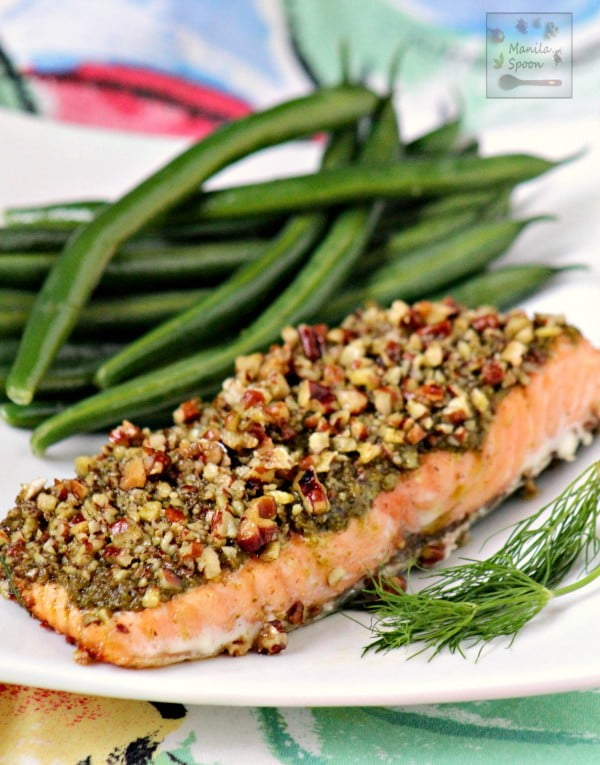 Baked Salmon with Pesto and Pecans #3ingredients #food #dinner #recipe