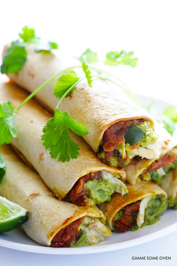 5-Ingredient Chicken Guacamole Taquitos #5ingredient #recipe #food #dinner