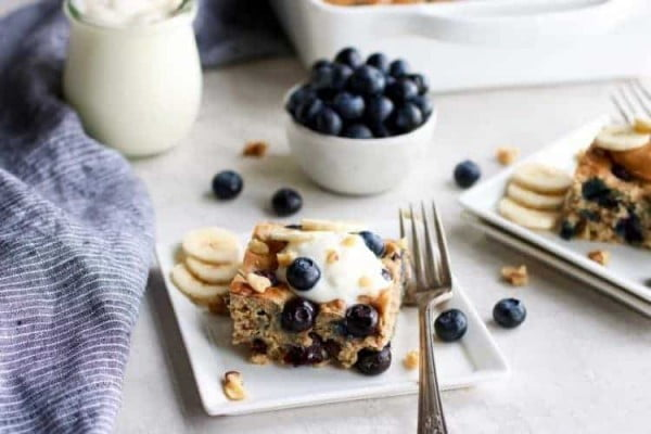 Gluten-free Blueberry Banana Walnut Muffin Bars #banana #recipe #snack #dessert