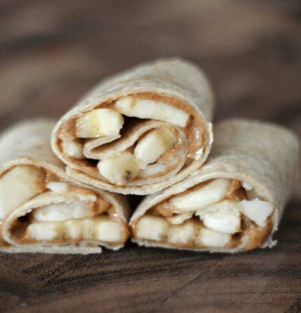 Almond Butter & Banana Snack Wraps #banana #recipe #snack #dessert