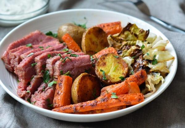 Roasted Corned Beef and Cabbage with Carrots, Potatoes & Horseradish Cream Sauce #cornedbeef #beef #dinner #recipe