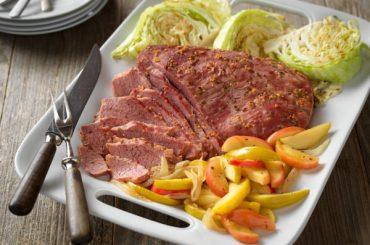 Corned Beef with Apple-Onion Saute #cornedbeef #beef #dinner #recipe