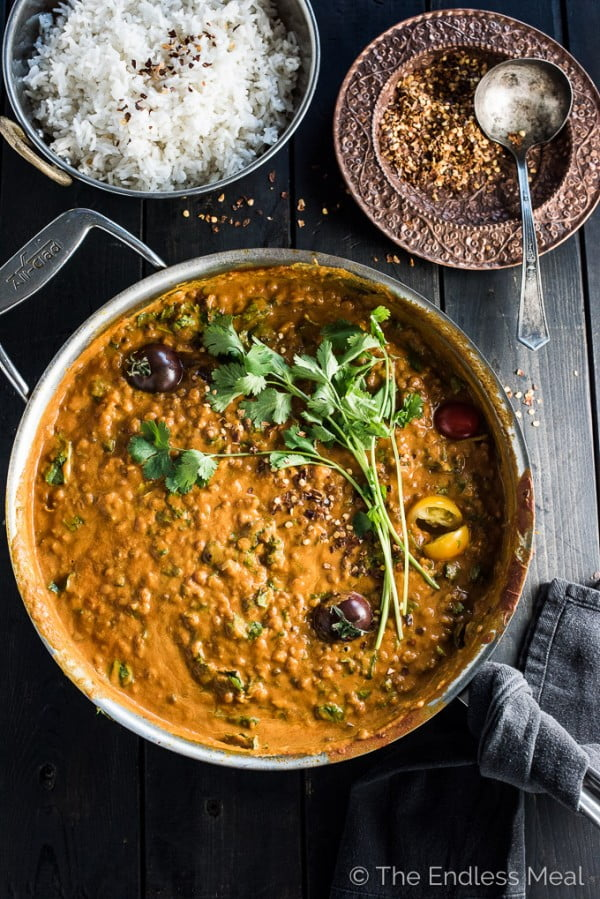 Creamy Coconut Lentil Curry #curry #dinner #recipe #food