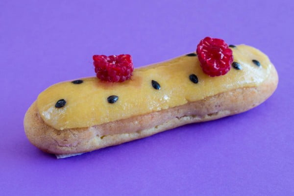 Passion fruit and raspberry éclairs #eclair #dessert #recipe